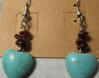 Garnet and Magnesite Earrings