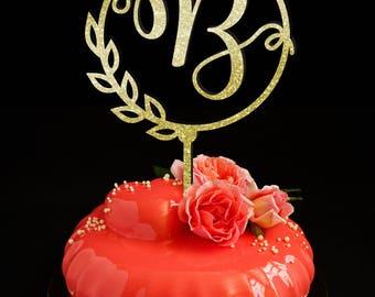 Letter cake topper B, Wedding Cake Topper, Unique Cake Topper, Monogram Cake Topper, Initials Cake Topper Single Letter, Personalised Topper