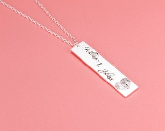 Custom Name Necklace For Her • Fingerprint Necklace • Personalized Necklace • Handwriting Bar Necklace • Valentine day gifts • #NPNB002