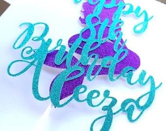 Mermaid Cake Topper, Under The Sea Party Decor, Mermaid Party Decorations, Mermaid Tail Cake Topper, Princess Birthday