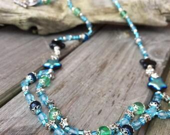 Beautiful Aquamarine and green beaded necklace