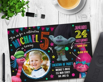 Trolls Birthday Invitation, Trolls Invitation, Troll Invitation Download, Trolls Party, Trolls Invites, Trolls Invitation with Photo