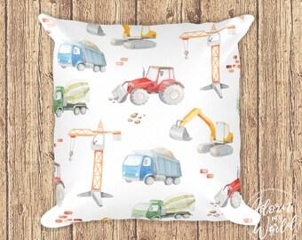 Construction Vehicle Pillow, Construction Decor, Construction Cushion, Construction Bedding, Pillowcase, Digger, Dump Truck, Tractor, Crane