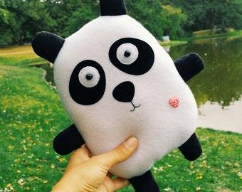 Panda plush toy stuffed animal black and white panda pillow teddy handmade nursery decor plush