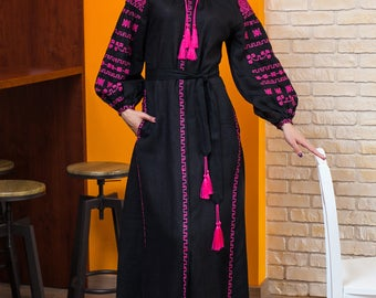 Long black embroidered dress made of linen with Ukrainian embroidery greek style