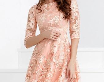 Pale pink bridesmaid dress, bridesmaids dresses, lace dress, prom dress, elegant dress