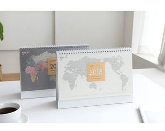 2018 DESK CALENDAR WORLDWIDE | Calendar 2018 | Christmas Gift | 2018 Planner | Map Calendar | Monthly Planner | Yearly Planner | Free Notes