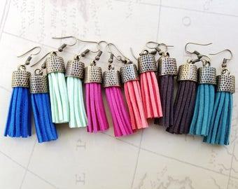 Chunky Tassel & Hammered Brass Dangle Earrings - Boho Jewelry, Tassel Jewelry, Tassel Earrings, Leather Tassel Earrings, Colorful Earrings