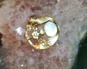 Brooch, brooches, Art Nouveau, Moonstone, double, rhinestones