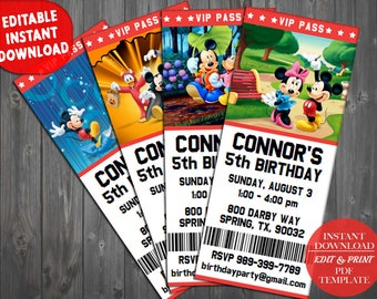 Mickey Mouse Invitations, Mickey Mouse Ticket Invitations, Mickey Mouse Clubhouse Party, Mickey Mouse Clubhouse Birthday