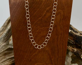 Sterling Silver Hammered Entwined Circles Necklace
