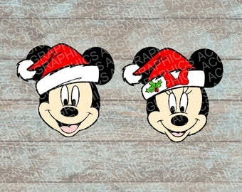 Santa Mickey and Minnie SVG, DXF, JPEG, and Studio Downloads