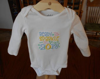 New Year's Baby, Ready to Sparkle, 2018 Baby Onesie, Machine Embroidery