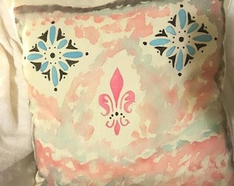 Hand Painted Pillow with Water Color/17x17/Cotton