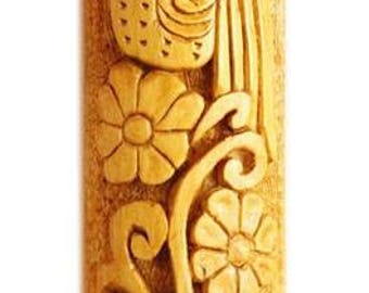 Wood carving Bird with Flowers