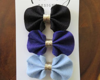 Black, Purple, Blue Felt Ruffle Bow Hair Clip Set