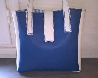 Blue and white leatherette bag