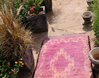 50in x 40in  Moroccan Vintage Rug AZILAL, Handmade by Berber Women Atlas Mountains ( 127cm x 102cm )