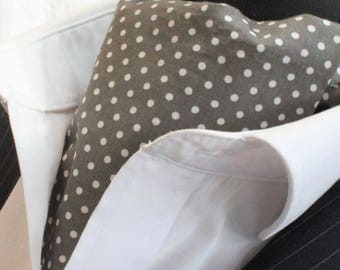 Cravat Ascot UK Made Dark Grey / White Polka Dot+Hanky.Premium Cotton.