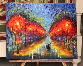 Stand by me original oil painting John Lennon Abstract oil art Love scene art Romantic couple artwork Valentine's day painting Free shipping