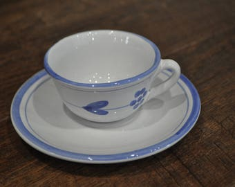 Teacup & Saucer - Caleca - Hand Painted Made in Italy - White and Blue