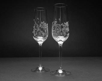 hand engraved glassware set champagne flutes crystal glasses gift engraved