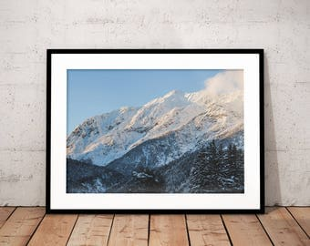 Winter Mountain Digital Print, Winter Wonderland Poster, Snow Mountain Printable, Blue and White Wall Art, Nature Photography, Home Decor