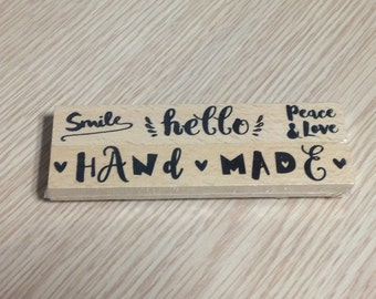 Set of 2 posts Hand Made wooden stamps
