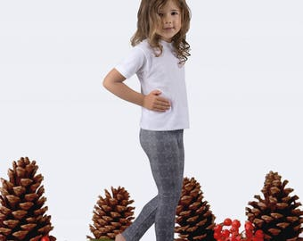 Gray Snowflake Girls' Leggings