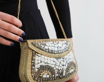 White Gold Clutch Bag, Glamorous Handbag Purse, Mosaic Tile Handbag, Gold Metal Shoulder Bag, Evening Handbag, Bridal Wedding Handbag, Prom