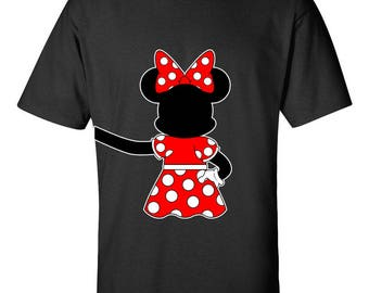 Minnie Mouse Hugging Right Side Disney Couple T-Shirts Printed Tees Men Size Unisex Cotton Tee Shirts for Men and Women