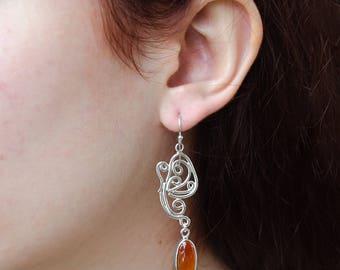 Carnelian Earrings, Orange Earrings, Wire Earrings, Dangle Earrings, Long Dangle Earrings, Long Bohemian Earrings, Silver Earrings For Women