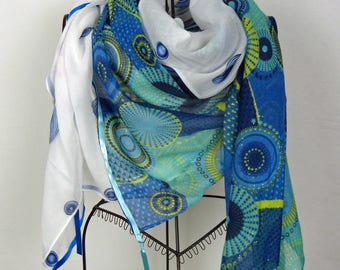 Large square scarf blue and white collection 180, large shawl, black, blue, black scarf