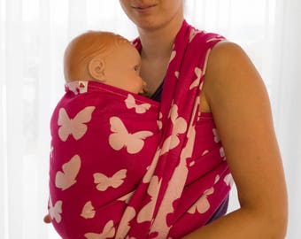 Lenka Pink Baby Wrap with Butterfly pattern - Baby wrap, Baby Sling, Baby Carrier, Lenka carrier, Be Lenka, Baby wearing, Baby carrying