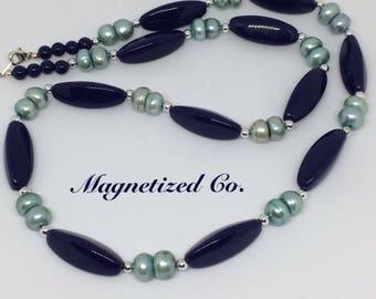 Blue Oblong Necklace