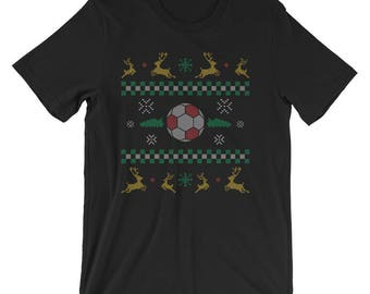 Soccer Ugly Christmas Sweater UNISEX T-Shirt Soccer Christmas Shirt Christmas Gift for Soccer Player
