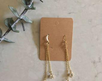 Brass Gold Crystal Dangle Drop Chain Earrings