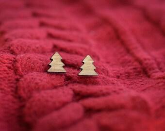 Christmas Tree Stud Earrings - WOOD