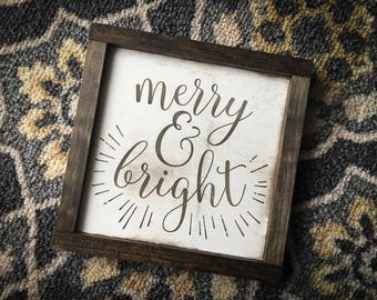 Merry & Bright - Wooden Sign | Christmas | Farmhouse Style
