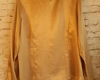 Vintage Women's 80's ,Gold, Blouse,Size 14, Long Sleeve,Eva Laurel, Made In USA, Shirt,High collar,Career