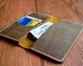 Checkbook cover, Brown Checkbook, Men's Women's Handcrafted Wallet, Checkbook Wallet, Card wallet, Bifold wallet, Designer wallets