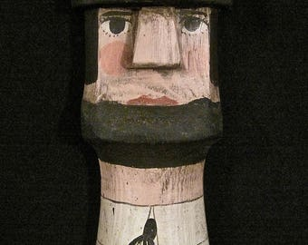 Old Abe Lincoln Tall Wall Plaque – Folk Art Wood Carving