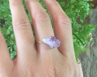 Raw Amethyst Ring / Raw Gemstone Ring /Natural Crystal Ring/ Statement Ring/Anniversary Gift, Birthday Gift for Her, February Birthstone