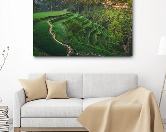 Bali Nature Canvas Print // Ubud Large Canvas Photo, Asia Decor, Travel Photography, Green Rice Terrace Wall Art, Indonesia Landscape