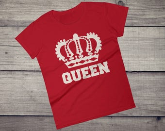 Queen T-Shirt crown King Queen couple shirts tee Girl's Women's short sleeve t-shirt tshirt tee