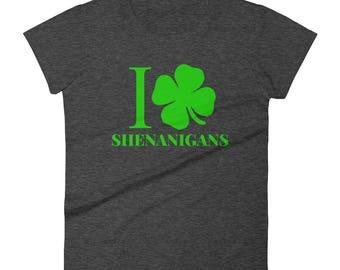 Women's I Love Shenanigans Shirt, Shamrock Shirt, St Patricks Day Shirt, St Paddys Day Parade, Irish, funny Patrick's Day, day drinking,