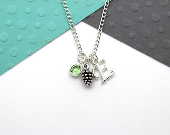 Pinecone Charm Personalized Charm Necklace, Pine Cone Customized Necklace, Personalised Swarovski Birthstone & Initial Name Gift