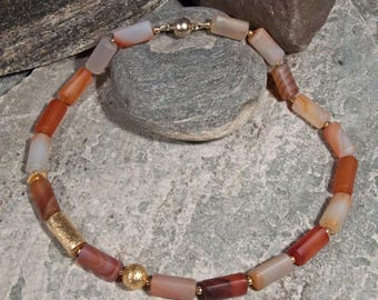 Gemstone necklace made of carnelian with gold-plated 925 silver
