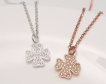 Good Luck Gifts Cubic Zirconia Four Leaf Clover Necklace Silver or Rose Gold Good Luck Charms Clover Leaf Jewelry Luck Necklace Clover G.P.