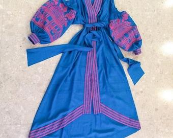 Kaftan Dubai Abaya Dress Vyshyvanka Ukrainian Dress Bohemian Clothing Custom Boho Dress Ukraine Boho Vishivanka Ukrainian Embroidery
